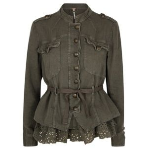 New! FREE PEOPLE Emilia Army Green Jac